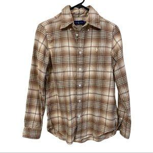 Ralph Lauren Women's Tan Brown Plaid Shirt